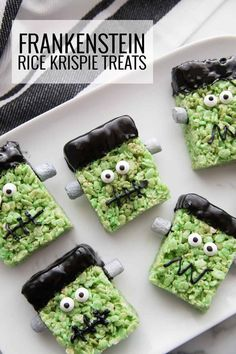 This easy Frankenstein Rice Krispie treat recipe is one of the best Halloween desserts! They're fun for a Halloween party or family night with your kids!