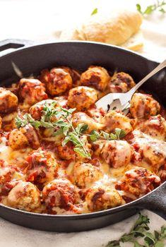 Skillet Meatballs in Marinara Sauce - http://Delish.com