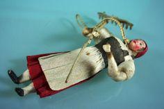 Antique Christmas Ornament Spun Cotton Farmers Girl w Composit Head C 1900   eBay