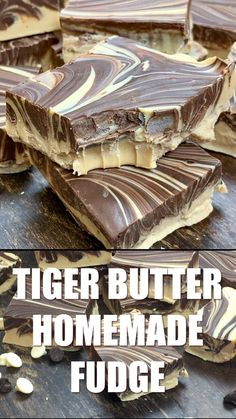 Tiger Butter Homemade Fudge is a delicious fudge recipe that is perfect for the Thanksgiving and Christmas holidays. This is a simple chocolate fudge recipe that only takes a few minutes to make. This peanut butter and chocolate fudge will become o Easy Chocolate Fudge, Chocolate Peanut Butter Fudge, Chocolate Recipes, Caramel Fudge, Chocolate Tarts, Tiger Butter Fudge Recipe, Delicious Fudge Recipe, Recipe For Fudge, Simple Fudge Recipe