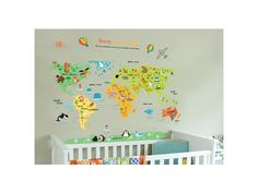 """Samolepka na stenu """"Farebná Mapa Sveta"""" 88x110 cm. Detská samolepka na stenu """"Farebná mapa sveta"""", ktorá zútulní a rozjasní detskú izbičku. Vaše deti sa hravou formou spoznajú kontinenty a zvieratká, ktoré na nich žijú. Samolepka sa jednoducho lepí bez potreby dodatočného lepidla, výborne drží na..."""