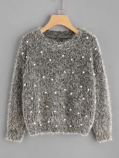 Shop Pearl Beading Fluffy Sweater online. SheIn offers Pearl Beading Fluffy Sweater & more to fit your fashionable needs.