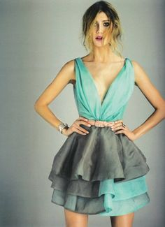Beautiful. Aqua, grey, dress. Ombré