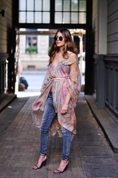 billowy dress over jeans. Maja in Copenhagen. #MajaWyh