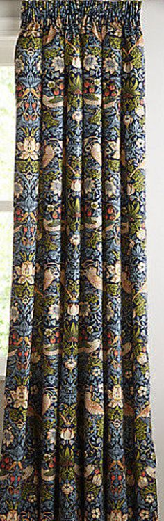 William Morris Fabric - Strawberry Thief -  Indigo Made to Measure Curtains + buy by the metre