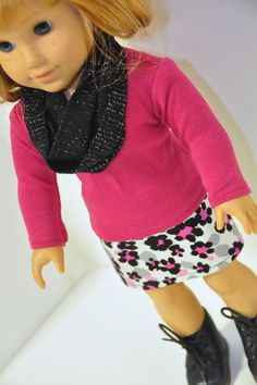 American Girl Doll Clothes Black Gray and Pink by CircleCSewing, $15.00