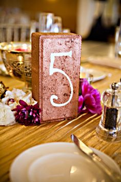 painted brick table number
