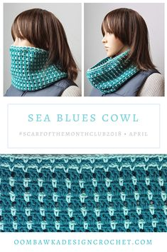 April Scarf of the Month Club Patterns - Sea Blues Cowl Pattern Crochet Cowl Free Pattern, Crochet Stitches Patterns, Crochet Designs, Free Crochet, Scarf Patterns, Quick Crochet, Crochet Tutorials, Crochet Ideas, Crochet Scarves
