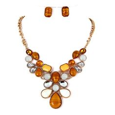 Brown, Opal, Yellow & Clear Color Acrylic Necklace & Earrings Set Post Earrings ZS0013-IVY
