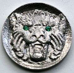 STEINAR FOSBACK - ROMAN LION WITH EMERALD EYES - NO DATE BUFFALO NICKEL Hobo Nickel, Buffalo, Roman, Emerald, Lion, Carving, Eyes, Leo, Wood Carvings