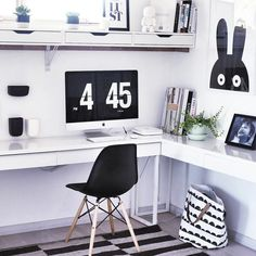 Black & white home office with Ikea 'Besta/Burs' desk | home office | work space | mac desk