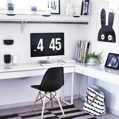 Black & white home office with Ikea 'Besta/Burs' desk | home office | work space | mac desk