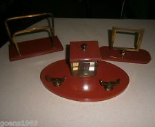 Rare Chunky Art Deco Marbled Red Bakelite 3 Pc. Inkwell Desk Set Free Shipping