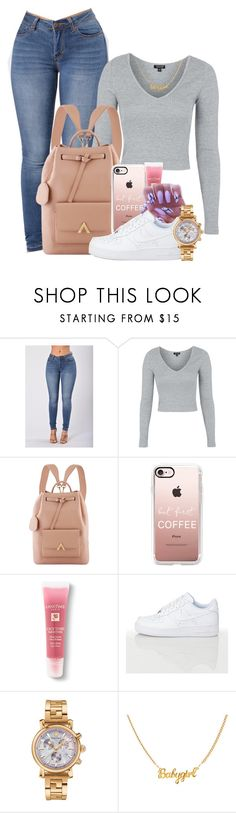 """Untitled #1665"" by melaninprincess-16 ❤ liked on Polyvore featuring Topshop, Casetify, Lancôme and Versace"