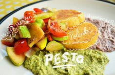 Saute'ed Veggies and Polenta with Spicy Cilantro Pesto Vegan Recipe