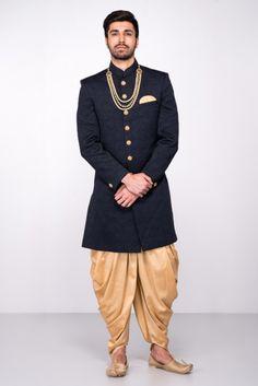 MFS Black Quilted Sherwani With Golden Peshawari Salwar #flyrobe #groom #groomwear #groomsherwani #sherwani #flyrobe #wedding #designersherwani
