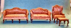 VINTAGE QUEEN ANNE LIVING ROOM LIVING ROOM #1102  DOLLHOUSE FURNITURE MINIATURES #CONCORD