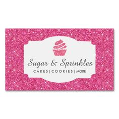 Bakery and Catering Pink Glitter Business Cards. This great business card design is available for customization. All text style, colors, sizes can be modified to fit your needs. Just click the image to learn more!