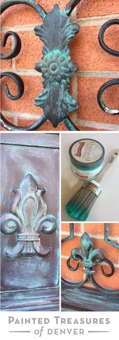 Updated this metal wall art from Hobby Lobby with Heirloom Traditions Oxidized Patina Soft Wax. I just applied the wax with s natural bristled brush and wiped with a lint free cloth. Easy! Use PAINTEDTREASURES for 10% off your order. Painted Treasures of Denver | Painting Metal for Farmhouse Look | Painting Tips + Tricks .
