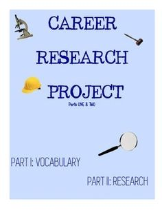 Career research project middle school