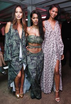 Chanel Iman Photos Photos - Actress and blogger Jamie Chung, singer Teyana Taylor, and model Chanel Iman pose before the Baja East fashion show during New York Fashion Week September 2016 at 25 Beekman on September 9, 2016 in New York City. - Baja East- Front Row - September 2016 - New York Fashion Week