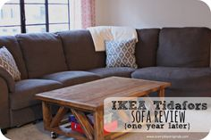 A review of the IKEA Tidafors Sofa after one year of living with it. This sofa has held it's shape, color, comfort and more. We still love it and recommend it.