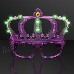 Mardi Gras Party Tip: gotta have your Blinky King's Crown Mardi Gras Shades from FlashingBlinkyLights.com.  These LED lights don't shine in your eyes - nice!