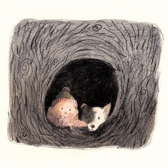 A girl and a dog in a tree #sketchbook #childrensillustration #kidlitart #kidlit #illustratorsoninstagram #illustration #colliepuppy #collie #bordercollie #autumn #autumn #sketch
