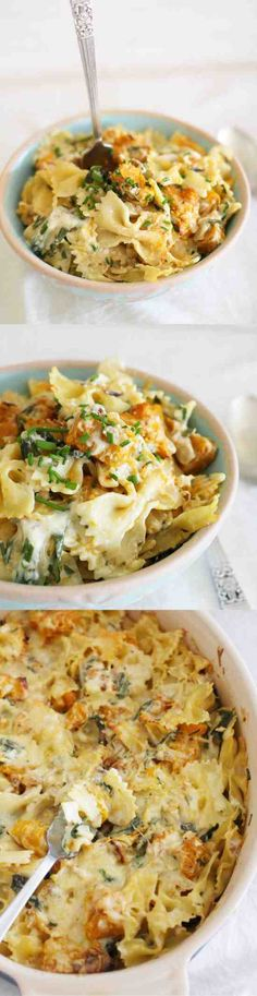 Roast pumpkin, herb & walnut pasta bake - garlic, healthy, pasta, pumpkin, recipes, walnut
