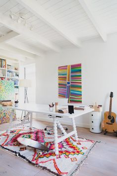 For Sale: Large Aboriginal Painting by Barney Ellaga White Closet, Aboriginal Painting, Large Table, Living Room Kitchen, Living Rooms, Living Spaces, Abstract Styles, White Cabinets, Artist At Work