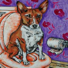 basenji in the bathroom decor dog art tile decorative coaster gift