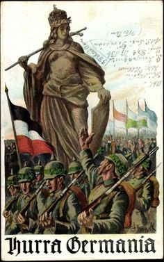 WW1. Hurra Germania - German propaganda poster, 1915.