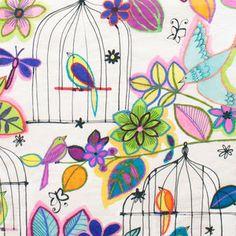 Alexander Henry House Designer - Jardin Colorido - Las Palomas en Colores in Natural