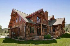 Love love love this house Log Home Kits, Log Cabin Kits, Log Cabin Homes, Log Cabins, Mountain Cabins, Mountain Homes, Barn Homes, Dream House Plans, My Dream Home