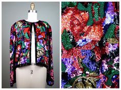 STUNNING Beaded Sequined Jacket / Bright Floral Heavily by braxae