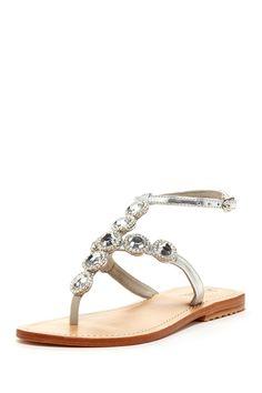 T-Strap Crystal Detail Sandal