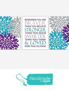 Baby Girl Nursery Wall Art Purple Teal Turquoise Gray Grey Flower Burst Dahlia Mums You Are Braver Toddler Bedroom Baby Nursery Decor SET OF 3 UNFRAMED PRINTS from Dezignerheart Designs https://smile.amazon.com/dp/B01DZ49KNK/ref=hnd_sw_r_pi_dp_vzaXxbD1B1716 #handmadeatamazon