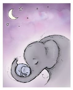 Wall art Goodnight Elephants nursery purple by GrubbyPrincess, $25.00