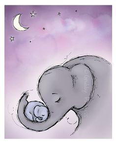 Wall art Goodnight Elephants nursery purple by GrubbyPrincess, $25.00