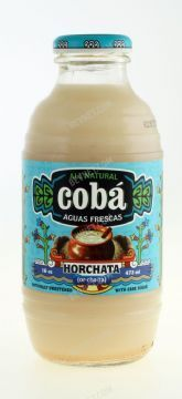 BevNET Review: Coba's horchata. opting for a lighter bodied formulation that allows the cinnamon and rice flavors to have more of a presence.  with organic cane sugar, the packaging and branding, which has a cleanly executed Mexican styling to it that manages to feel modern, wholesome, and authentic rather than simply ethnic. The Coba bottle, which is modeled after an aguas frescas jar, adds a nice visual point of differentiation and also feels nice in your hand.