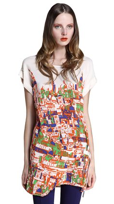 Houses Print Silk Dress