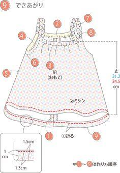 みつあみした肩ひものキャミは、フレアなフォルムがかわいい。 Tシャツとの重ね着するのもおすすめ。 同じ1mの布地でスカートも作れるのでおすすめです♪ スカートの作り方は別レシピにてご紹介しています。是非一緒に作ってみてください!