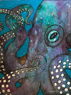 Original Mixed Media Painting Octopus Art by LynnetteShelley Kraken, Octopus Painting, Painting & Drawing, Octopus Artwork, Painting Inspiration, Art Inspo, Street Art, Arte Pop, Mixed Media Painting