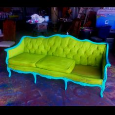 A bit extreme but a great example of how to make over stodgy furniture and turn it into something fabulous!
