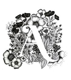 Letter A print - Alphabet, Calligraphy, Typography, Monogram, Flowers - Black and White ink art print