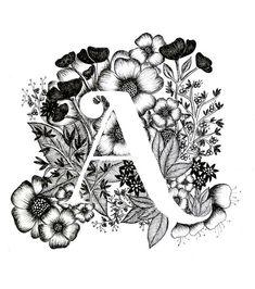 Letter A print - Alphabet, Calligraphy, Typography, Monogram, Flowers - Black…