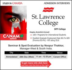 Study in #Canada - St. Lawrence College. For complete information & enrolment, Register Today!  #StudyAbroad #StudyinCanada #StudentVisa #StudyVisa #StudentVisaExpert #CanamConsultants