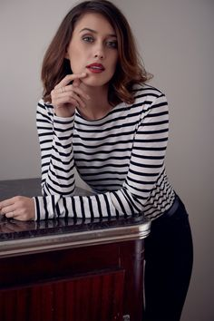 The Stripe Boater features an elegant boat neckline and extra long sleeves. Perfect for winter layering with a slim fit Boater, Parisian Style, Ethical Fashion, Organic Cotton, Style Inspiration, Fashion Outfits, Tees, My Style, Long Sleeve