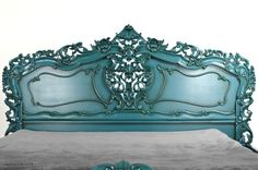 Fabulous & Rococo Headboard  - Aqua Mist blue lacquer finish with an antique effect  fabulousandbaroque.com