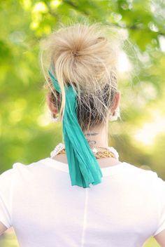 hair- big messy bun with silk scarf | Flickr - Photo Sharing!